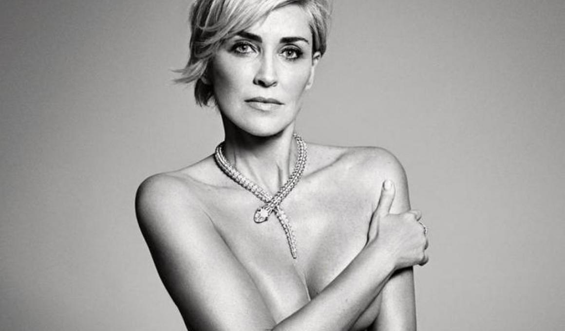H Σάρον Στόουν ολόγυμνη στο Harper's Bazaar